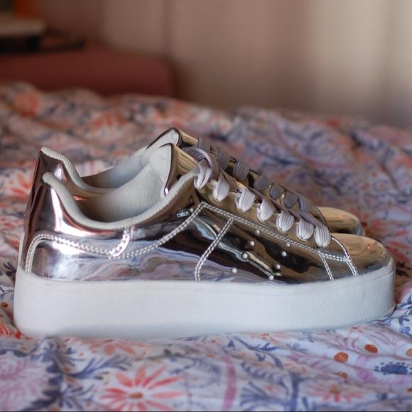 Silver Platform Sneakers Nwot | Poshmark